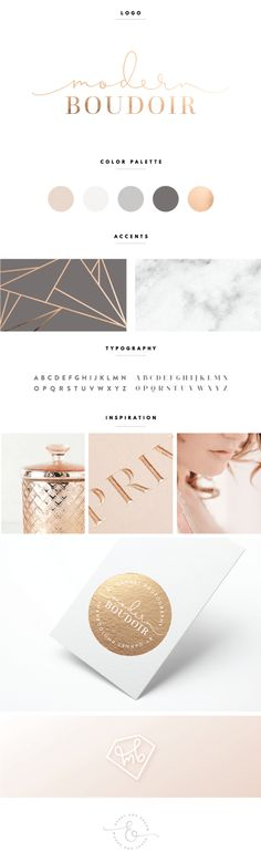 Great palette - blush, grey, rose gold. We could even consider a grey stock for the business card? Or one side of it?