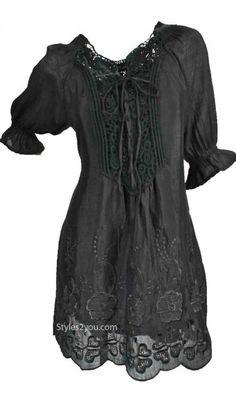 Pretty Angel Clothing Prairie Dress Tunic In Black Pretty Angel Clothing Ladies Dress Tunic In Brown [AMLN10615BK Vintage Clothes]
