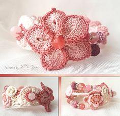 Crochet bracelet Romantic style jewelry Bracelet with beads