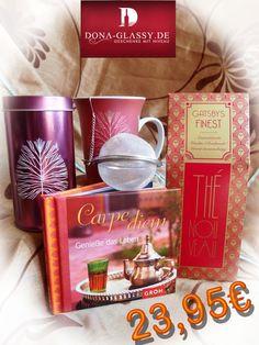 Tee Geschenkset Carpe diem für die Frau mit einer schönen Tasse, Dose, Früchtetee, Tee-Kugel und einen Buch.