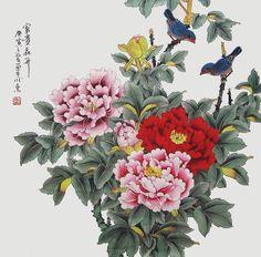 Flor con pintura original peonía de arte tradicional chino de pintura con dos pajaros aves