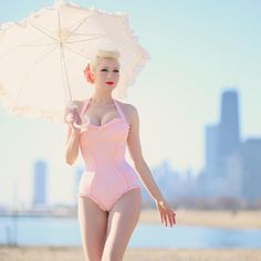 #TBT in @uniquevintage UV is now releasing new swimwear for spring 2017! ❁ #uniquevintage #pinup #pink #peach #vintageglamour #vintagehair #platinumblonde #Regram via @chicagochicblog