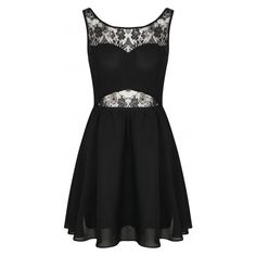 Barbara Black Open Back Chiffon Lace Skater Dress ($39) ❤ liked on Polyvore featuring dresses, vestidos, black chiffon dress, lacy black dress, lace dress, kohl dresses and lacy dress