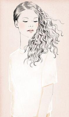 deep waver by Sandra Suy - Pencil, Watercolor illustration. Fashion, Beauty