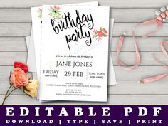 Watercolour Flowers Birthday Party Invitation Template by Prandski