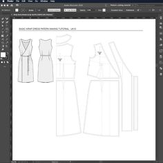 Learn how to draft a simple wrap dress from a digital basic torso block, using Adobe illustrator. Watch the free video tutorial now. Pattern Drafting Tutorials, Sewing Patterns Free, Clothing Patterns, Dress Sewing Tutorials, Dress Making Patterns, Pattern Making, Wrap Dress Patterns, Dress Paterns, Shirt Patterns