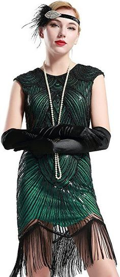 BABEYOND Women's Flapper Dresses Beaded Fringed Great Gatsby Dress - best woman's fashion products designed to provide Great Gatsby Prom Dresses, Pretty Dresses, Pretty Clothes, Fringe Flapper Dress, Flapper Dresses, Plus Size Maxi Dresses, Dresses With Sleeves, Very Short Dress, Dress Long