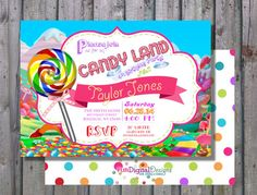 Perfect for a Candy Land Theme Birthday!    This design includes the back side image.    I can add 1 or 2 pics see samples in the product