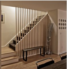 Treppe offen zum Essbereich gestaltet Stairs open to the dining area Attic Stairs, Basement Stairs, House Stairs, Railing Design, Staircase Design, Wood Staircase, Spiral Staircases, Escalier Design, Building Stairs