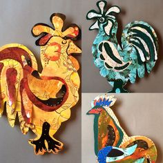 Elaine Hardman works in clay and metals. These chickens are made of 1950s TV trays and cookie tins. 12 to 15 inches tall. Open during the 2016 Studio Tour, October 15 &16.