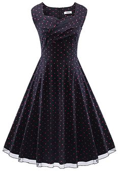 VOGVOG Women's 1950s Retro Vintage Cap Sleeve Party Swing Dress, Black with Heart-shaped, X-Large