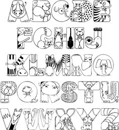 Crazy Zoo Animals Coloring Printable | full alphabet