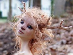 FAWN GIRL sculpture closeup by pixiwillow Michelle Bradshaw Faun Makeup, Troll, Faerie Costume, Fantasy Costumes, Oh Deer, Perfect World, Fairy Art, Halloween Makeup, Pagan Halloween