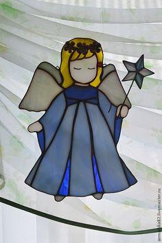 Купить Ангелок с веночком(в наличии) - ангелок, ангел, Витраж, венок, цветы, стекло, звездочка