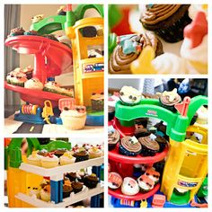 Awesome idea!  Use your kids toys as party decorations or better yet vehicles to use to hold your cupcakes.