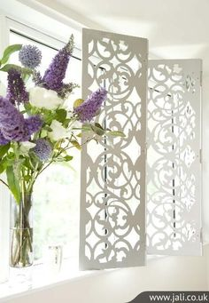 Decorative Window Shutters These floral decorative window shutters offer the perfect framing for any window. Designed to perfectly fit your window using the Jali Designer, you can choose from a wonderful range of fretwork designs. Window Coverings, Window Treatments, Window Screens, Privacy Screens, Made To Measure Furniture, Interior Window Shutters, Bespoke Furniture, Furniture Design, Interior Decorating