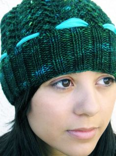 Hand Knit Slouch Hat, Cables & Lace, Cashmere Merino Wool, Forest Green, Turquoise Silk Ribbon by KnitzyBlonde - Meylah