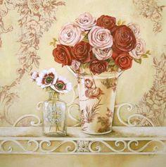 Stefania-Ferri-Chintz-and-Roses-Rosen-Stillleben-Fertig-Bild-30x30-Wandbild