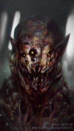 Monster Design by TentaclesandTeeth on DeviantArt Horror Art, Cosmic Horror, Fantasy Art, Creature Art, Fantasy Creatures, Scary Monsters, Creepy Monster, Art, Dark Fantasy Art