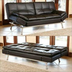 This space saving furniture offers contemporary style and luxurious appeal with its black faux leather upholstery, heavily tufted stitching and stainless steel legs for a gleaming finish. It also features solid oak wood frame for durability and adjustable back mechanisms for ease of use. Bed dimensions: 48.5 inches D x 80 inches W x 21 inches H. Space Saving Furniture, Sofa Furniture, Contemporary Furniture, Contemporary Style, Banquette Bench, Bed Dimensions, Settee, Hollywood Regency, Solid Oak