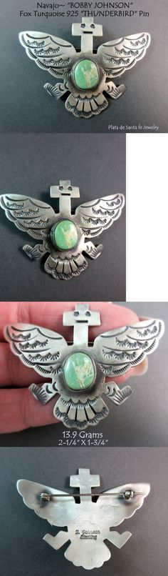 Pins Brooches 98499: Navajo~Bobby Johnson~Fox Turquoise~Whimsical Thunderbird~Hand Stamped 925 Pin -> BUY IT NOW ONLY: $240 on eBay!