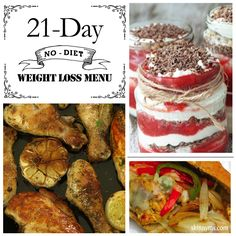 """Is """"diet"""" another 4 letter word for you?  These recipes included in the 21 Day (No-Diet) Weight Loss Menu are fantastic and will have you losing weight in no time!  #weightloss #menuplanning"""