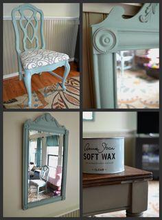 "Chair with ""Duck Egg blue"" Annie Sloan Chalk Paint & pretty fabric"