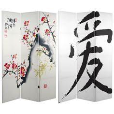 6 ft. Tall Cherry Blossoms and Love Canvas Room Divider | RoomDividers.com