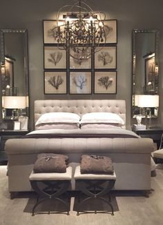 Bedroom furniture ideas - Picture groupings over bed headboards always make for a good interior décor accent but a grouping of framed plants is simply stunning. www.homemagez.com