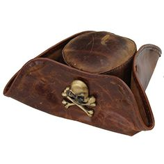 Men s Handmade Real Leather Skull  amp  Crossbones Tricorn Pirate Hat   TricornHat Pirate Hats 970522be48d2