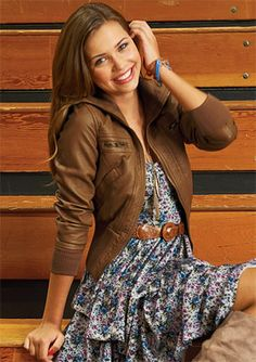 Brown Bomber Jacket, dress, boots