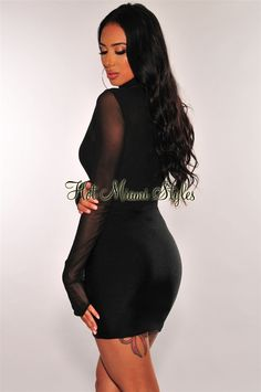 We are obsessing over this black dress! Made with mesh long sleeves and a sexy glistening ruched fabric which gives support and shape. White Maxi Dresses, Black Midi Dress, Navy Blue Dresses, Dresses With Sleeves, Black Off Shoulder, Keyhole Dress, Hot Miami Styles, Strapless Maxi, Mesh Long Sleeve