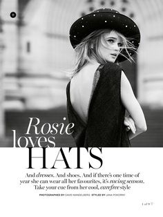 visual optimism; fashion editorials, shows, campaigns & more!: rosie loves hats: rosie tupper by david mandelberg for marie claire australia november 2014
