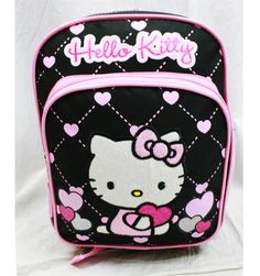 Hello Kitty School 10 Mini Backpack Bag  BLACK HEART -- More info could be found at the image url.