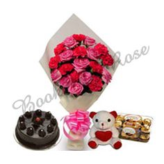 Cute Combo. Send Bunch Of 12 Red Roses flowers to your loved ones at Rs. 399