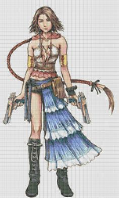 Yuna from Final Fantasy X cross stitch pattern by jennrbeeStitches