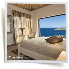 Holiday villa rental in Chania. Seaview Holiday villa private pool close to beach, Chania. Luxury sea view holiday villas, with majestic view, built. Crete Island, Holiday Lettings, Private Pool, Luxury Villa, Cottage, Interior Design, Bedroom, Luxury Holiday