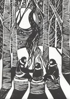 Three Weary Woodsmen Lino print/illustration by JustineHowlett, $15.00