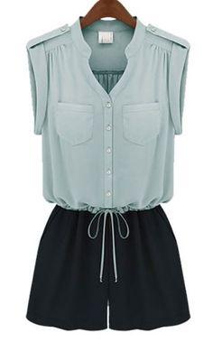Light Blue and Black V-neck Drawstring Sleeveless Jumpsuit