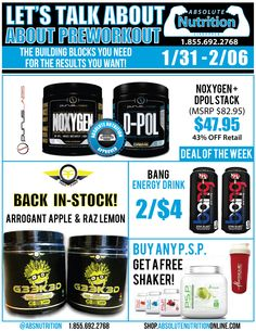 Our deals on preworkout, energy, and more!