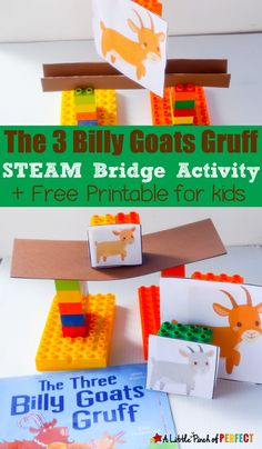 The Three Billy Goats Gruff STEAM Bridge Building Activity for Kids: With a little engineering and creativity kids can help the Three Billy Goats Gruff escape by building a bridge strong enough. This is a fun hands on activity. (preschool, kindergart, book extension, spring)