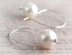 Bridal jewellery white earrings pearl earrings by Arctida on Etsy, $35.00