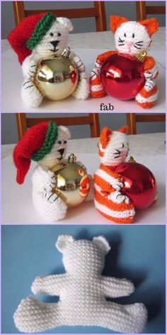 Knit Christmas Bear & Cat Baubles Free Patterns