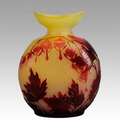 #hearts - striking late 19th Century French cameo glass vase of bulbous form the eye catching variegating red floral hearts design acid cut and etched against a vibrant yellow field signed in cameo Gallé.  #forsale at www.hickmet.com  #cameoglass #art #artnouveau #glass #flowers #interiordesign  #homedecor #collector #chinese #hickmetfinearts