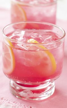 Pink Fizz ~       3 tsp. simple syrup     12 fresh mint leaves     3 ounces fresh lime juice     Crushed ice     8 ounces vodka     Cranberry juice           Champagne or sparkling wine  Muddle syrup, mint and lime together in a shaker. Add ice, vodka, 1/8 cup cranberry juice and shake well. Pour mixture into four champagne glasses, evenly and top off with champagne or wine. Garnish with mint.