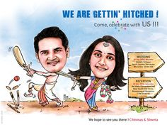 A lovely wedding caricature based on cricket theme.