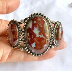 Condition: Pre-owned, there is a small drop of silver missing. This item is in used condition and will exhibit the expected surface scratches and dings to the silver from normal wear. Cuff Jewelry, Sterling Silver Cuff Bracelet, Stone Jewelry, Turquoise Cuff, Turquoise Pendant, Turquoise Earrings, Native American Earrings, Crazy Lace Agate, Navajo