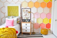 Beautiful wall treatment. Dylan's Dream Room Makeover Hexagon Wall @ Vintage Revivals