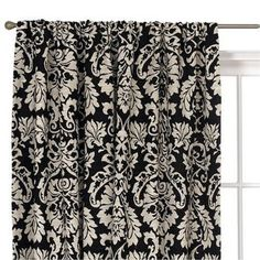 Black And White Color Block Curtains Black and White Damask Decor