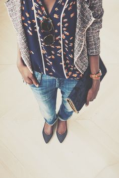 tweed, tiny floral, bf jeans